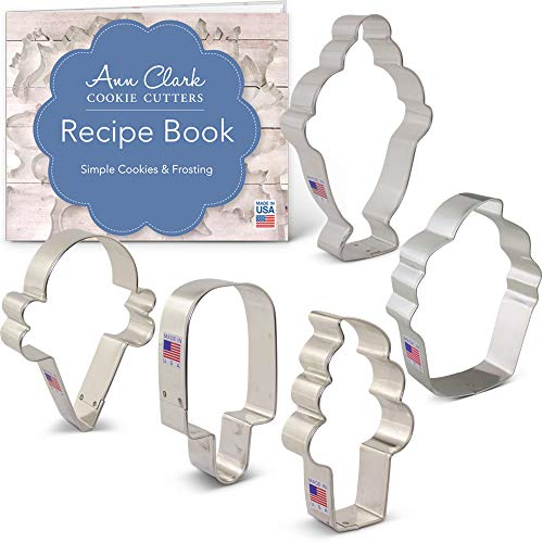Ice Cream and Sweets Cookie Cutter Set with Recipe Booklet - 5 piece - Ice Cream Cone, Soft Serve Cone, Popsicle, Ice Cream Sundae & Cupcake - Ann Clark - USA Made Steel