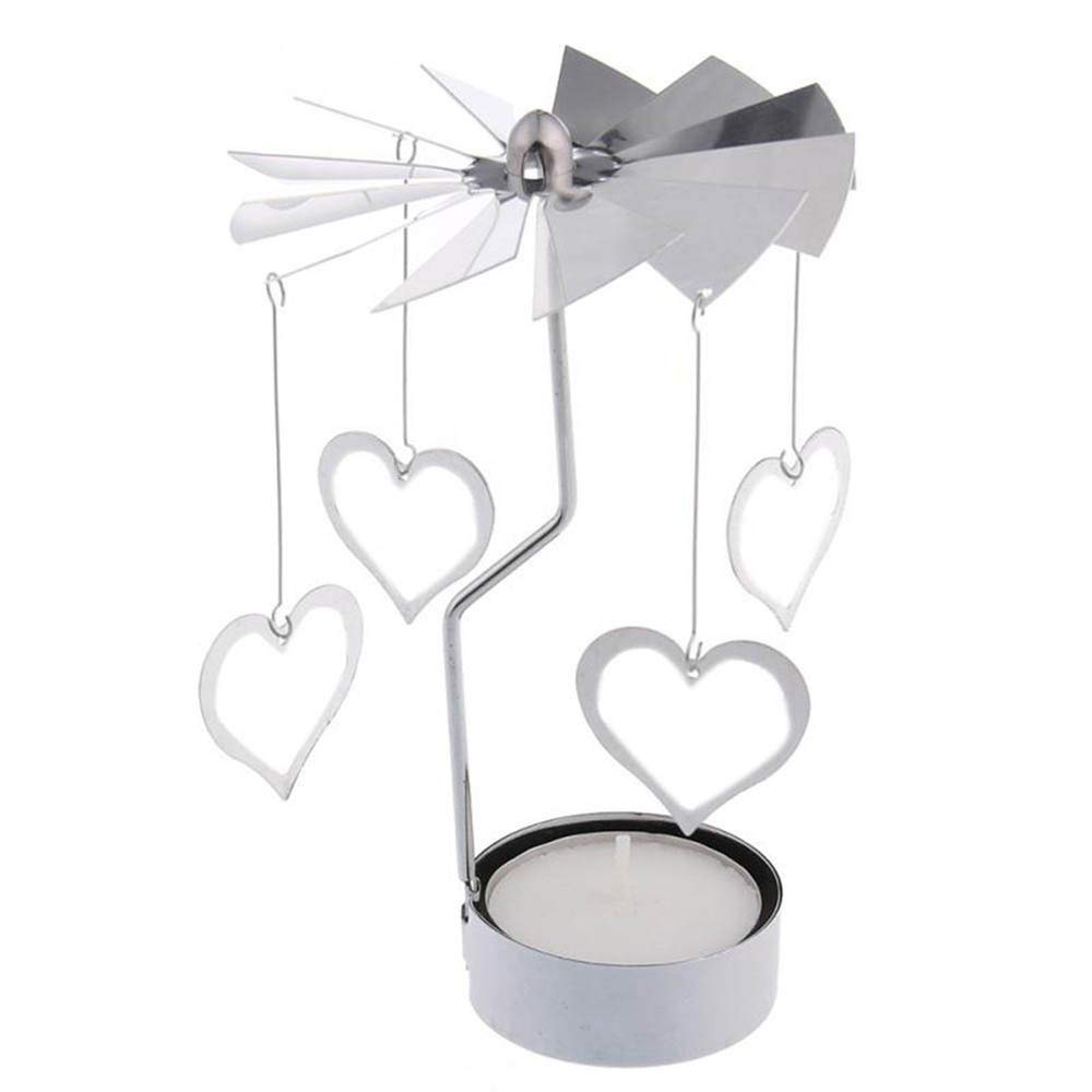 Christmas Spinning Candle Holder, Rotary Spinning Tealight Candle Metal Tea Light Holder Carousel Home Decor Gift (B)