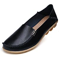 Mujer piel Moccasins Loafers conducción Casual zapatos interior plana Slip-On Zapatillas