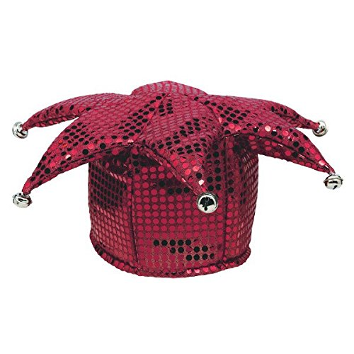 Burgundy Sequined Jester Hat, Party Accessory ()
