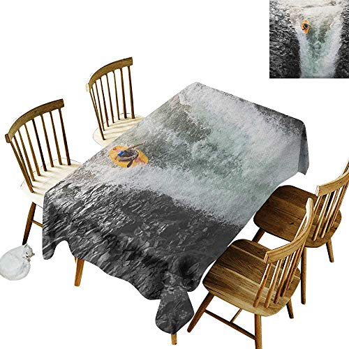 kangkaishi Anti-Wrinkle and Anti-Wrinkle Polyester Long Tablecloth for Weddings/banquets Photo of Man Kayaking in Canoe Flowing Wild Water Nature Extreme Outdoors Print W52 x L70 Inch Multicolor