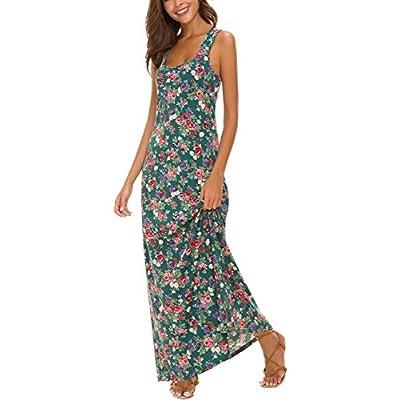 Urban CoCo Women's Floral Print Sleeveless Tank Top Maxi Dress at Women's Clothing store