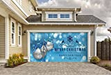 Outdoor Christmas Holiday Garage Door Banner Cover Mural Décoration 8'x16' - Christmas Silver Ornaments on Blue Holiday Garage Door Banner Décor Sign 8'x16'