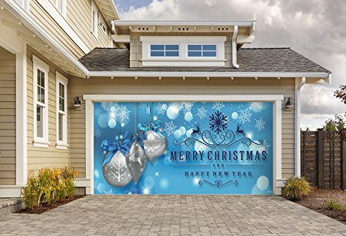 Outdoor Christmas Holiday Garage Door Banner Cover Mural Décoration 8'x16' - Christmas Silver Ornaments on Blue Holiday Garage Door Banner Décor Sign 8'x16' by Victory Corps
