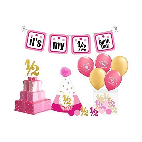 1/2 Birthday Girl Photo Prop. 6 Month Birthday Girl. Includes Birthday Bunting Banner, 1/2 Birthday Balloons, Birthday Hat, Confetti and Cake Topper (Pink & Gold)