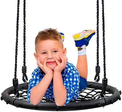 Sorbus Spinner Swing Kids Round Web Swing Great for Tree, Swing Set, Backyard, Playground, Playroom Accessories Included New Improved 2020 Design 24 Net Seat
