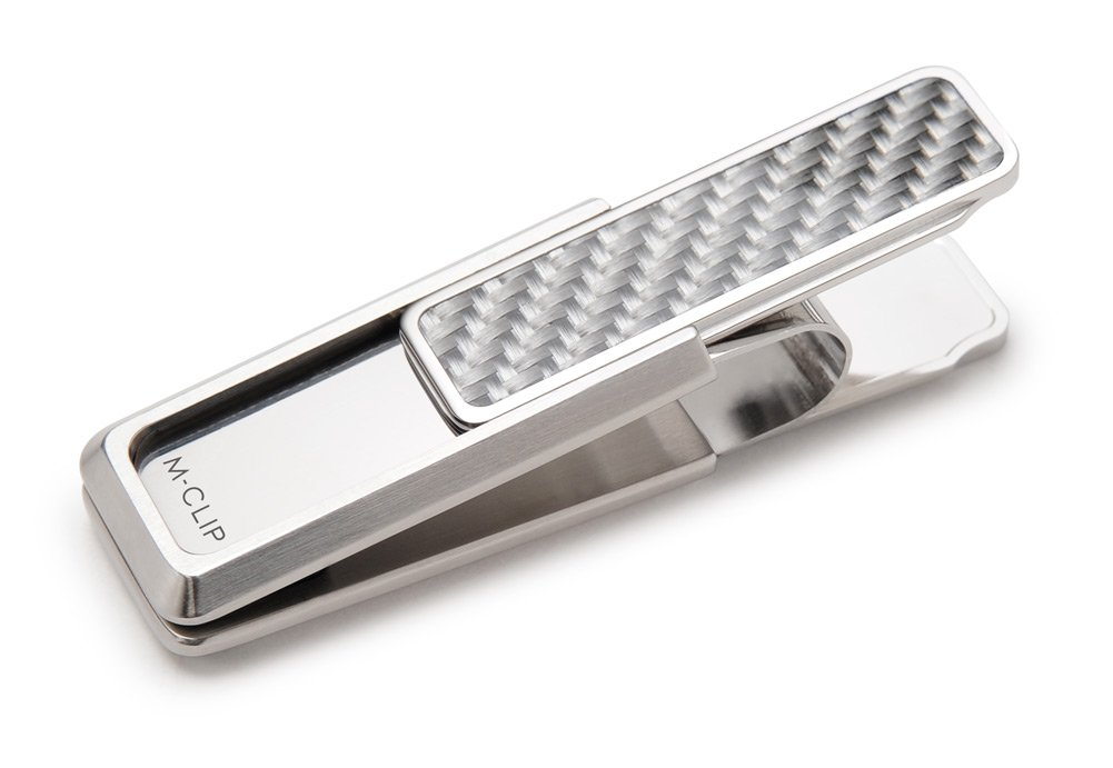 M-Clip Stainless Steel White Carbon Fiber Inlay Money Clip (SS-BSS-WHCF)