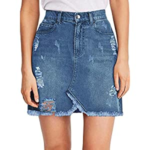 luvamia Women's Casual Mid Waisted Washed Frayed Pockets Denim Jean Short Skirt 27