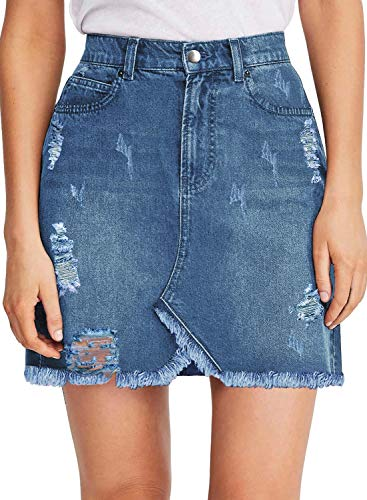 luvamia Women's Casual Jean Skirts High Waisted Ripped Denim Short Skirt R Ripped Denim Blue Size Small