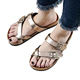 Clearance Sale Slippers For Women ,Farjing Fashion Womens Cross Toe Strap Flat Sandals beach shoe Thick soled Cork Slippers(US:8,Rose Gold )