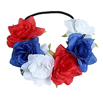 Amazon Com 4th Of July Crown Rose Flower Headband Floral Crown For