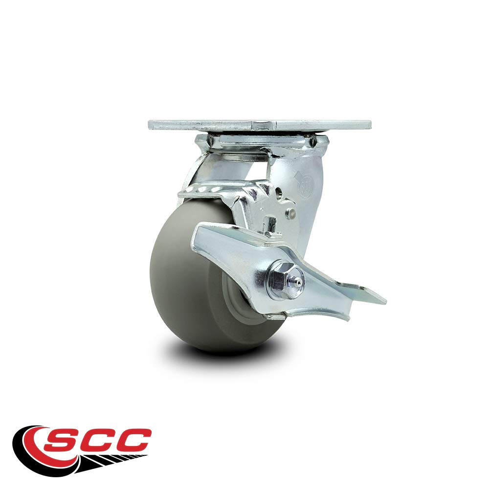 Service Caster - 4'' x 2'' Thermoplastic Rubber Wheel Swivel Casters w/Brakes - Set of 4 by Service Caster (Image #4)