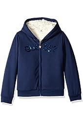 GUESS Little Girls' Brushed Cotton Fleece Logo Hoodie