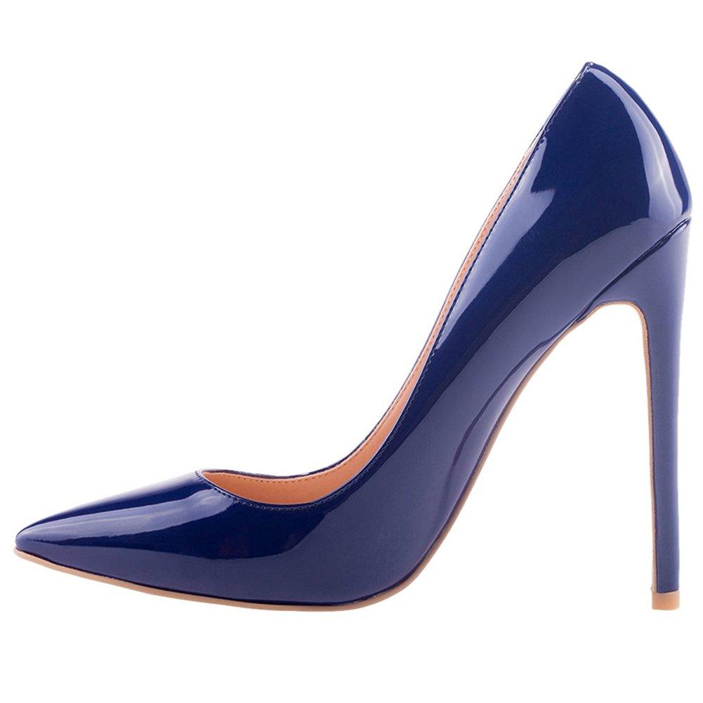Jushee Damen Sexy Klassische Schwarz Stiletto High Heels Kleid Buuml;ro Pumps45 EU/12 UK/14 US|Marine Blau