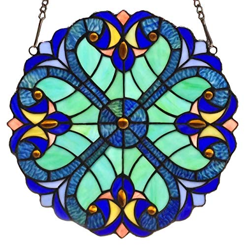 Mini Art Glass Panel - Bieye W10013 Victorian 12 inch Tiffany Style Stained Glass Window Panel with Chain, Blue