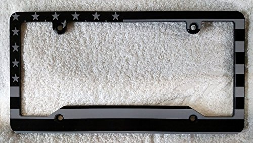 AMERICAN FLAG LICENSE PLATE FRAME, BLACK