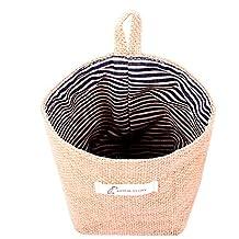 Rihe Jute Wall Door Hanging Storage Bag Case Basket Home Organizer Bin Decor (Blue Stripe)