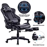 KILLABEE Big and Tall 350lb Massage Memory Foam Gaming Chair - Adjustable Massage Lumbar Cushion, Retractable Footrest and 2D Arms High Back Ergonomic Racing Computer Desk Leather Office Chair (Black)