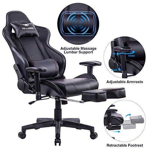 Recliner Leather Like Cushion Swivel (KILLABEE Big and Tall 350lb Massage Memory Foam Gaming Chair - Adjustable Massage Lumbar Cushion, Retractable Footrest and 2D Arms High Back Ergonomic Racing Computer Desk Leather Office Chair (Black))