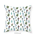 VROSELV Custom Cotton Linen Pillowcase Cactus Decor Watercolor Cactus Plant Image Desert Hot Mexican Souh Nature Floral Print for Bedroom Living Room Dorm Blue and Green 14''x14