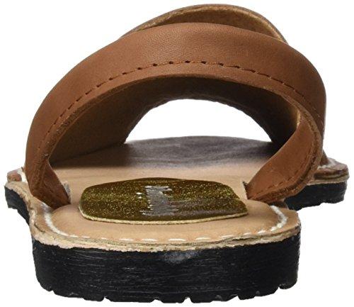 Menorquísima 33836700, Sandalias con Plataforma Plana para Mujer Marrón (Cuero)
