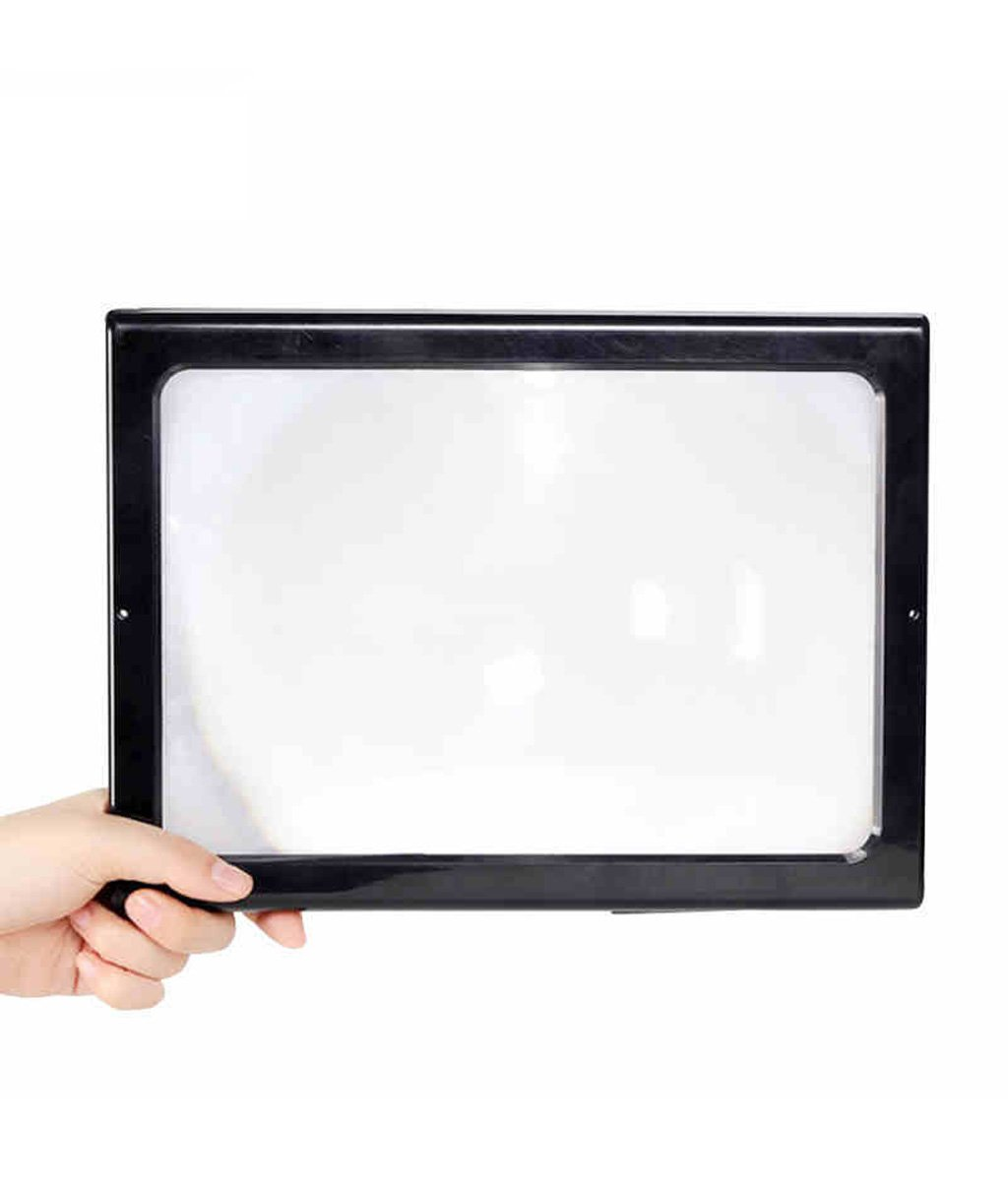 ZENGAI Magnifiers Desktop Magnifying Glass Led To Read 3 Times The High-definition Hanging Magnifying Lens Rectangular Full-page Reading With