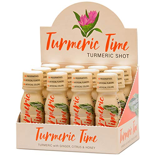 Turmeric Time Turmeric Ginger Shots - Turmeric with Ginger, Citrus & Honey | Non-GMO | No Preservatives or Artificial Flavors/Colors/Sweeteners | B Vitamins | Liquid Turmeric (12 Pack) (Best Shots Christmas)