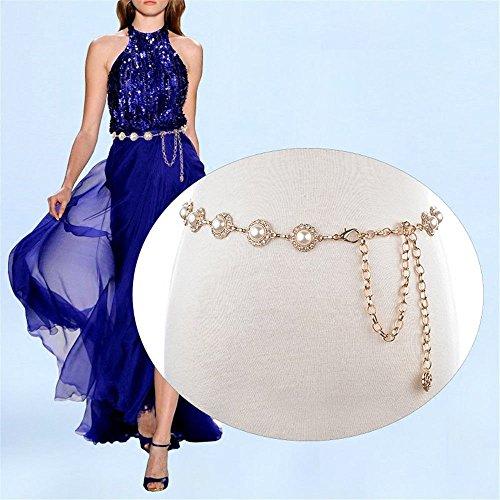 fa45ddcdfc2720 LONFENN Insert The Drill, Waist Chain Dress Decorated Belt nepotistic Gold  Manual Stitching Sweater Waist