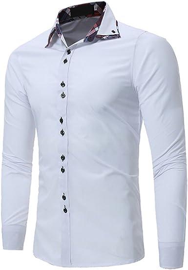 Usopu Camisa de Manga Larga de Color Sólido Informal de Doble ...