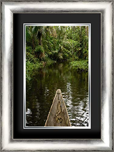 Dugout Canoe in Blackwater Stream, Yasuni National Park, Amazonia, Ecuador 17x24 Silver Contemporary Wood Framed and Double Matted (Black Over Silver) Art Print by Oxford, Pete (Best Wood For Dugout Canoe)