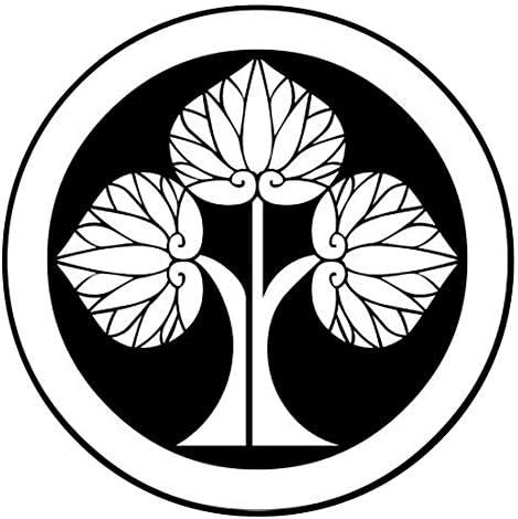 家紋シール 「丸に左離れ立葵」6枚入 男性紋・女性紋・子供サイズ・黒地用・白地用 貼付け家紋 着物用 KOM136