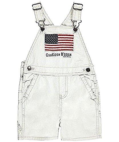 Price comparison product image OshKosh B'gosh Baby Boys American Flag Patriotic Canvas Shortalls Khaki (12 Months)