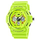 Sayeah Women's Digital Unique Round Sport Watch Men's Sillicone Band Heavy Duty Army Time LED Back Light Water Resistant Electronic Calendar Date Day Watch