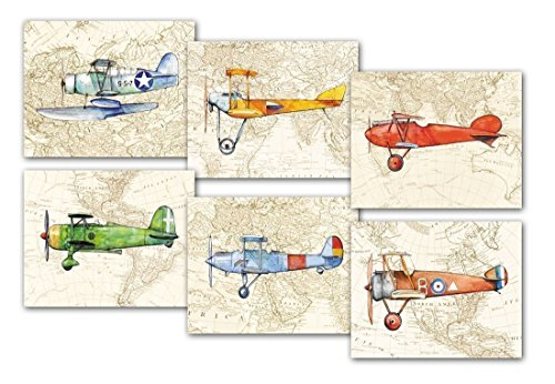 (Airplane Decor World Map Set 6 Prints Aviation theme Nursery Art)