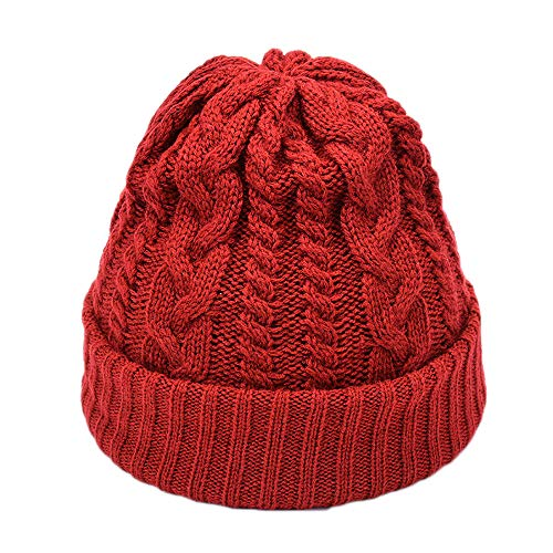 (FarJing Fashion Women Men Hat Solid Color Knited Headgear Beanie Tail Cap(One size,Red))