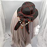 TanQiang Gothic Lolita Hair Accessory British Style Bowknot Cosplay Mini Top Hat Headband for Girls Party Costume Accessory (Hat)