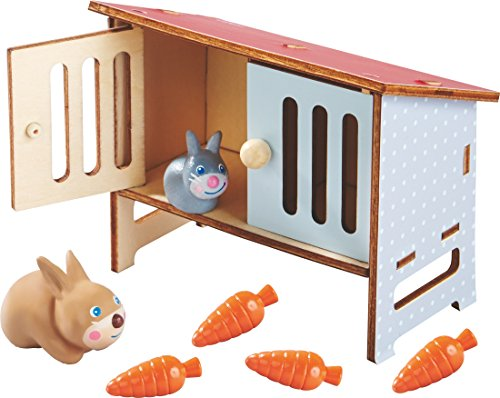 HABA Little Friends Rabbit Mimi - Includes Mommy & Baby Bunny with Carrots & Hutch