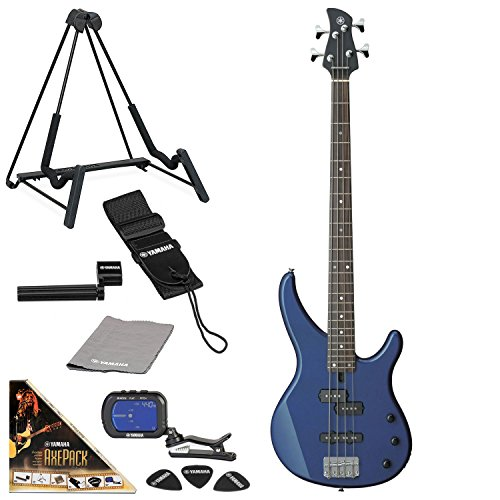 Yamaha TRBX174 Electric Bass Guitar Bundle with AxePack Accessory Pack (Metallic Blue) -
