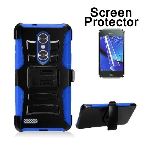 [ZTE Blade X Max (Cricket Wireless) Case, Phone case for Walmart Family Mobile ZTE ZMAX PRO/ ZTE ZMax Pro Case, Screen Protector + Dual Layer Holster Belt Clip Cover with Kickstand (Blue)] (Wal Mart Cell Phone Cases)