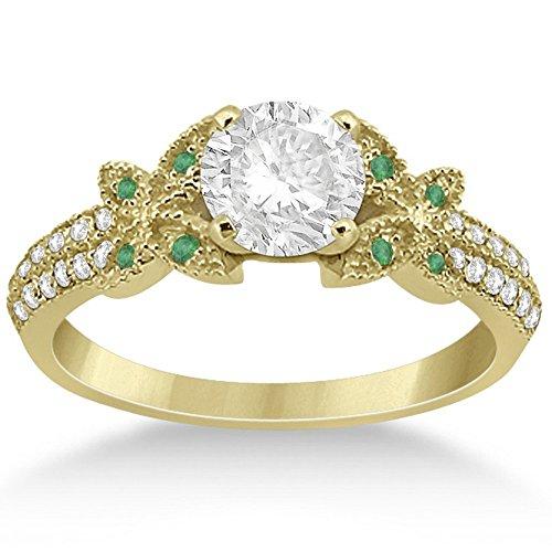 Women's Milgrain Semi-Eternity Pave Diamond and Emerald Engagement Ring 18k Yellow Gold (0.24 Ct Pave Diamond)