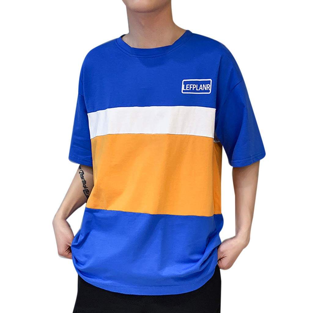 Yutao Mens New Summer Casual Color Collision Splicing Loose Short Sleeve T-Shirt Tops