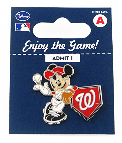 MLB Washington Nationals Disney Pin - Mickey Leaning on Home Base