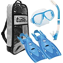 TUSA Sport Adult Splendive Mask, Hyperdry II Snorkel, and fins Travel Set, Blue