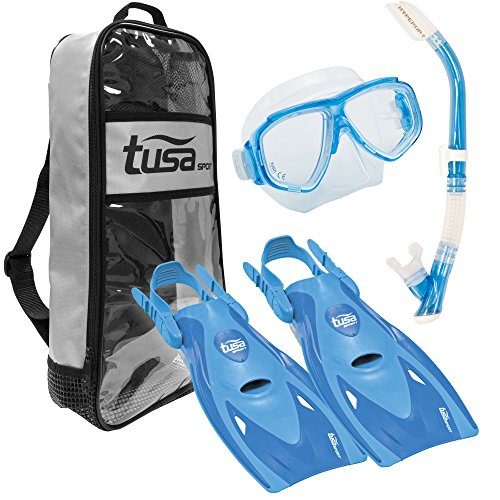 TUSA Sport Adult Splendive Mask, Hyperdry II Snorkel, and fins Travel Set, Blue