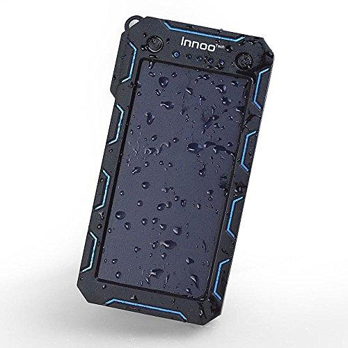 InnooTech Solar Ladegerät 15000mAh Regenbestädiges und Staubdichtes Duale USB Ports Solar Power Bank Externe Akku Backup Batterie für iPhone, iPad, Handy, Tablet, Kamera usw.