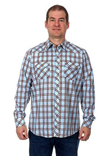 [Mens Western Long Sleeve Pearl Snap Plaid Shirt (Medium, Orange/Blue)] (Orange Plaid Western Shirt)