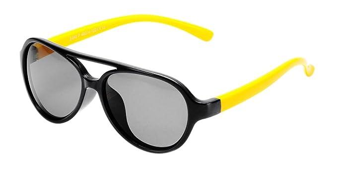 BOZEVON Gafas de Sol para Unisexo Niños Niñas Flexible Rubber Deportivas Polarizadas Aviador Gafas, Negro