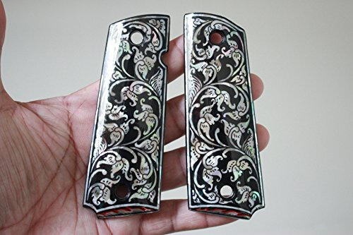 Flower art black on Mother of Pearl MOP grips Fits 1911 Standard full size Colt Government and Commander Kimber, Springfield, Remington, Taurus PT 1911, Smith&Wesson by Handmade