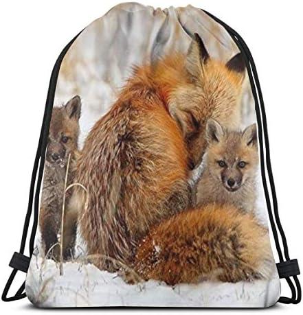 フォックスとそのカブドローストリングバッグ(男の子と女の子用)ジムバッグ36 x 43cm