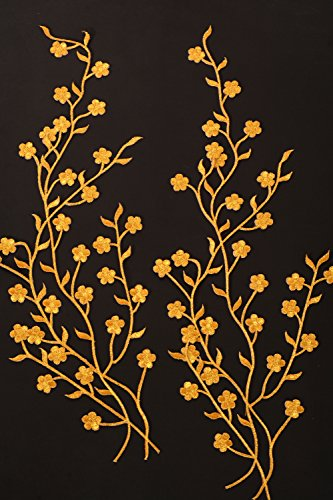TWO Big Golden Flower Leaf Vines Embroidery Applique Patch, Plum Blossom Flower Patch, Iron on Applique, Flower Applique Patch (Big Vine)